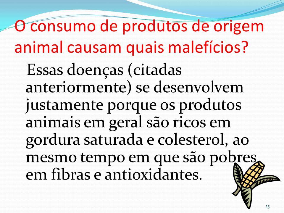 O consumo de produtos de origem animal causam quais malefícios