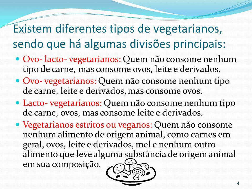 Existem diferentes tipos de vegetarianos, sendo que há algumas divisões principais: