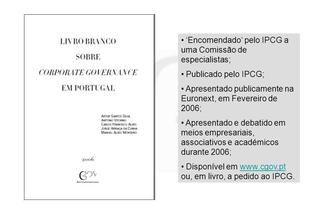 'Encomendado' pelo IPCG a uma Comissão de especialistas;