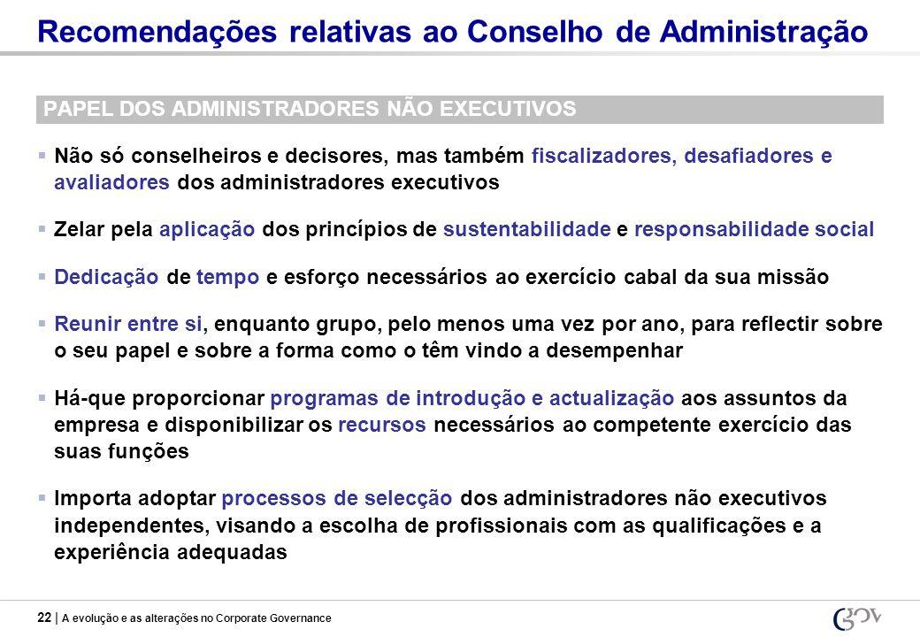 Recomendações relativas ao Conselho de Administração