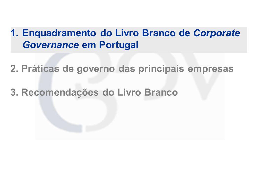 1. Enquadramento do Livro Branco de Corporate Governance em Portugal