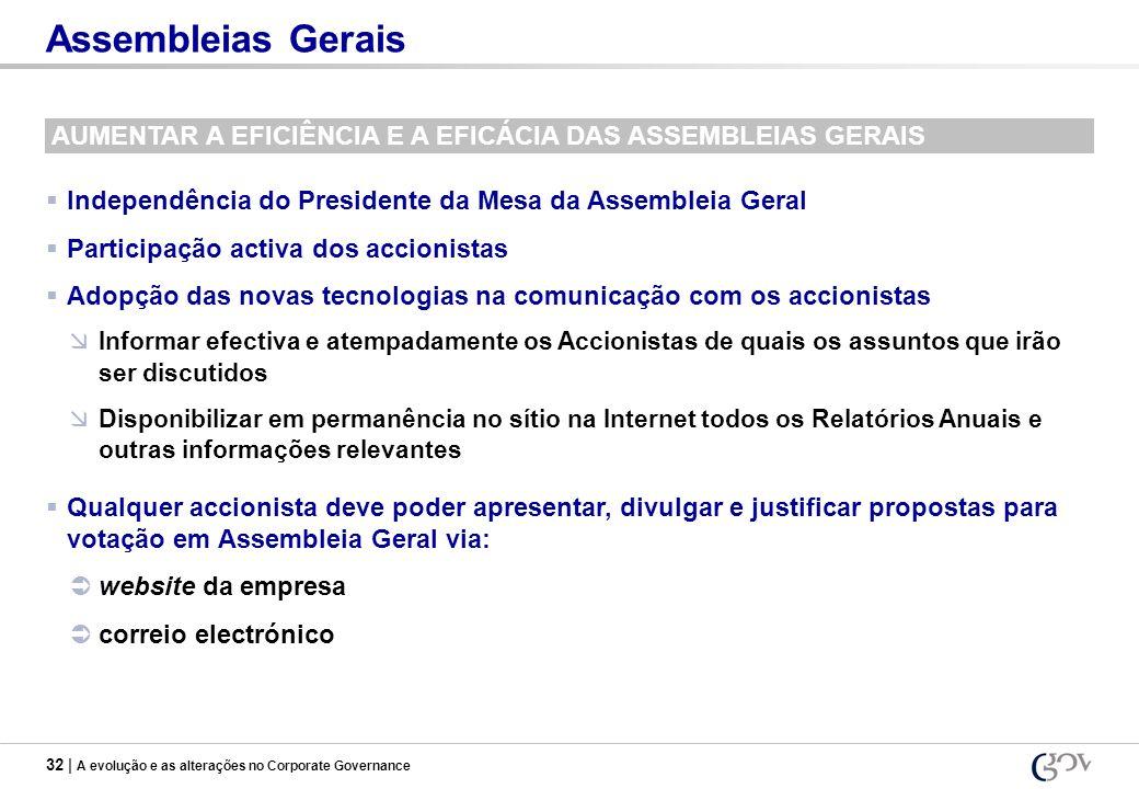 Assembleias Gerais AUMENTAR A EFICIÊNCIA E A EFICÁCIA DAS ASSEMBLEIAS GERAIS. Independência do Presidente da Mesa da Assembleia Geral.