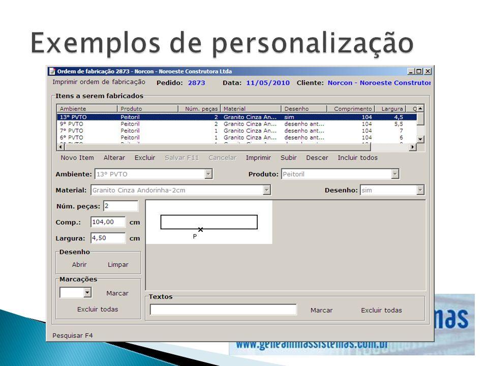 Exemplos de personalização