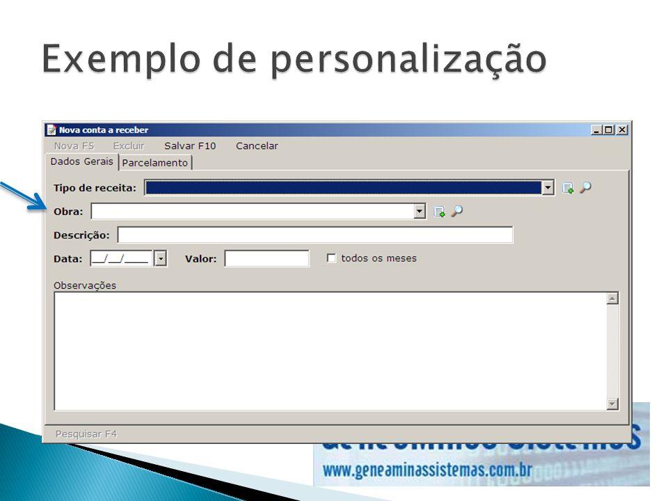 Exemplo de personalização