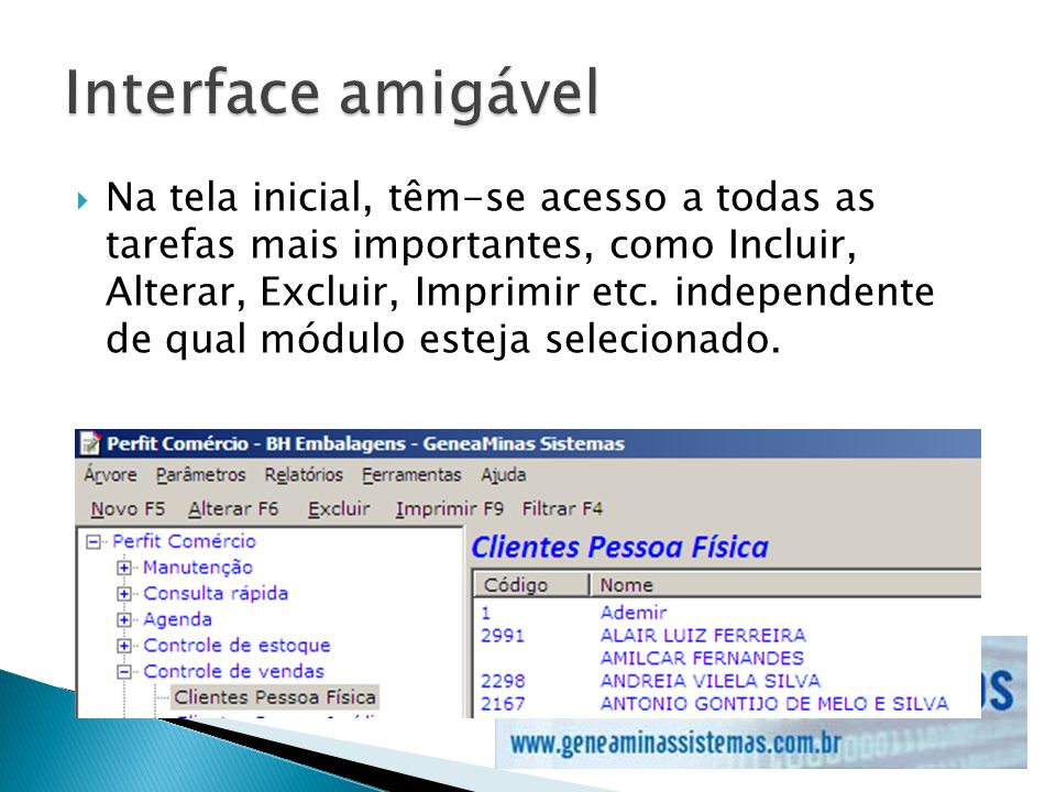 Interface amigável