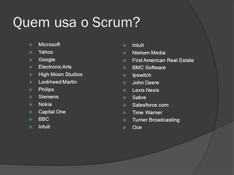 Quem usa o Scrum Microsoft Intuit Yahoo Nielsen Media Google