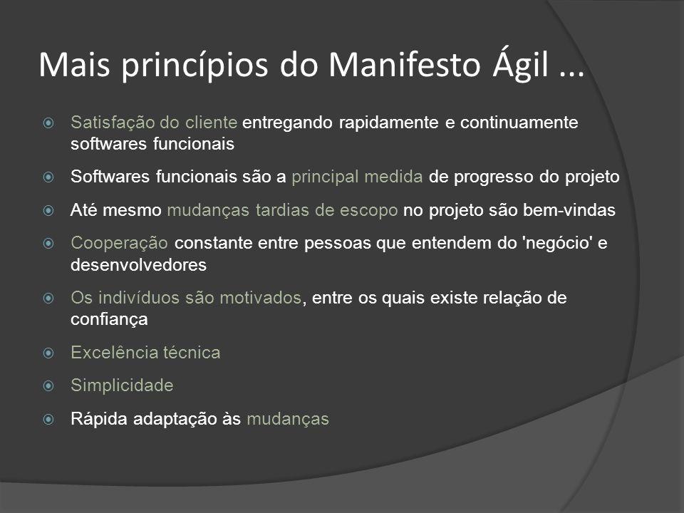Mais princípios do Manifesto Ágil ...