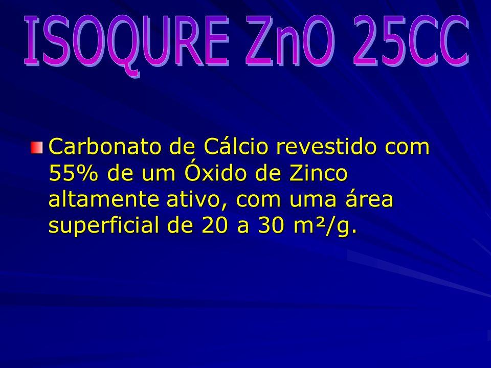 ISOQURE ZnO 25CC Carbonato de Cálcio revestido com 55% de um Óxido de Zinco altamente ativo, com uma área superficial de 20 a 30 m²/g.