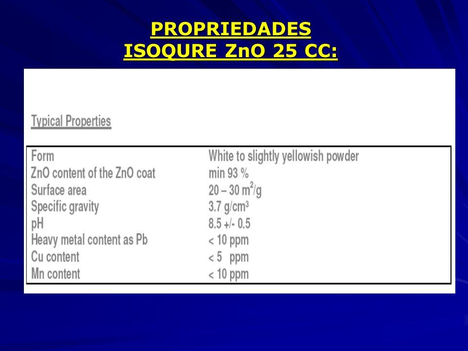 PROPRIEDADES ISOQURE ZnO 25 CC: