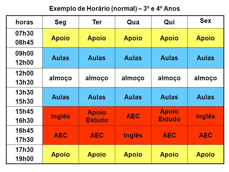 Exemplo de Horário (normal) – 3º e 4º Anos