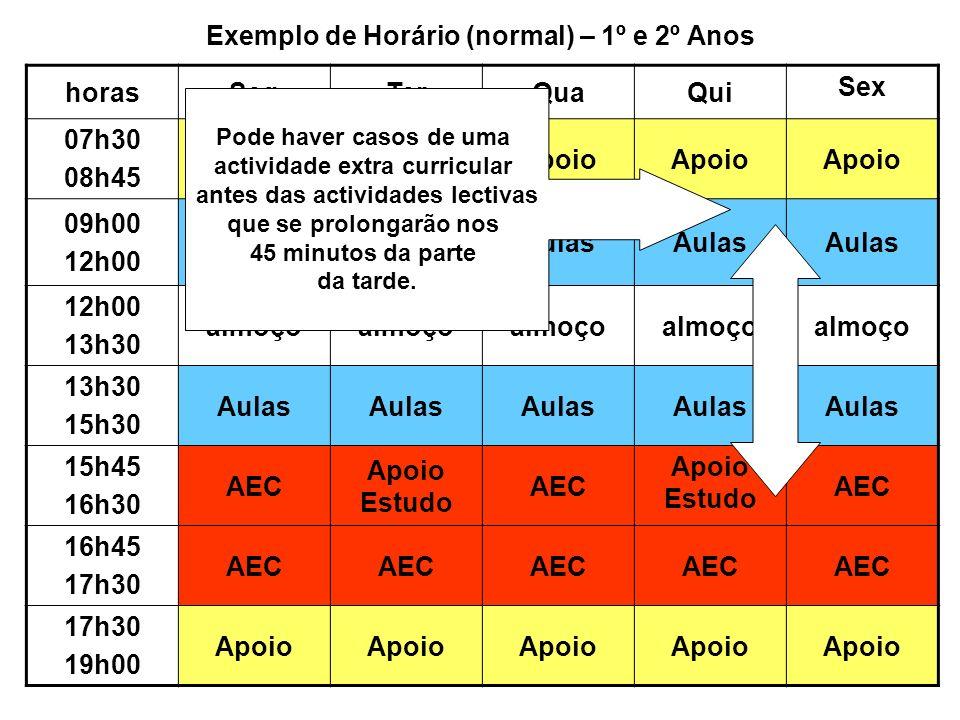 Exemplo de Horário (normal) – 1º e 2º Anos