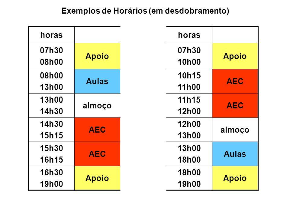 Exemplos de Horários (em desdobramento)