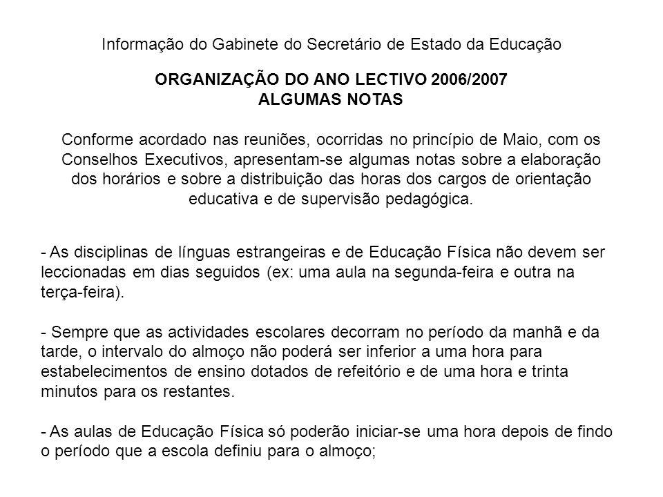 ORGANIZAÇÃO DO ANO LECTIVO 2006/2007