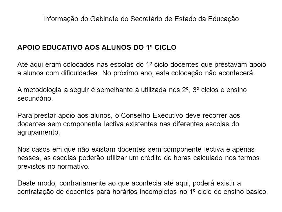 Informação do Gabinete do Secretário de Estado da Educação