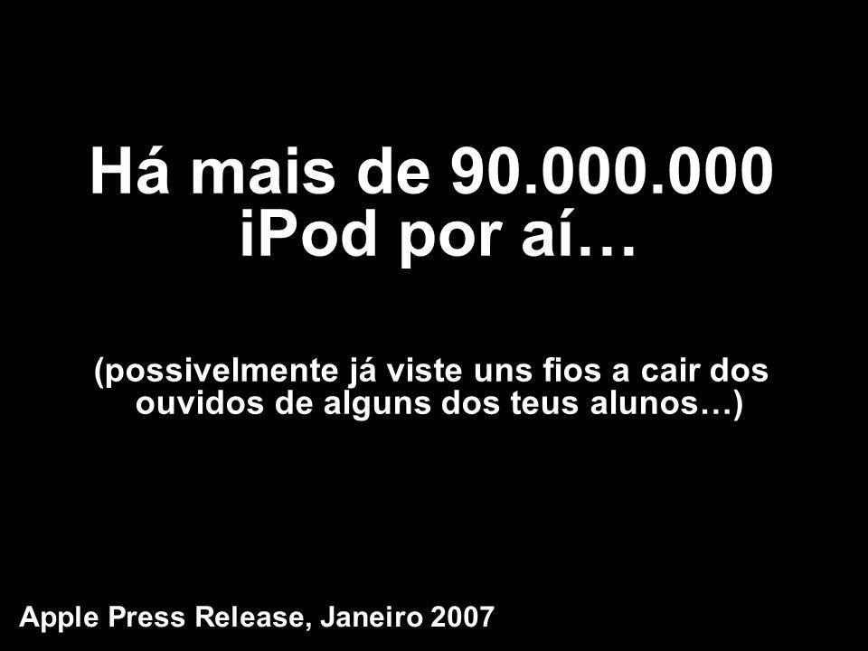 Há mais de 90.000.000 iPod por aí… (possivelmente já viste uns fios a cair dos ouvidos de alguns dos teus alunos…)