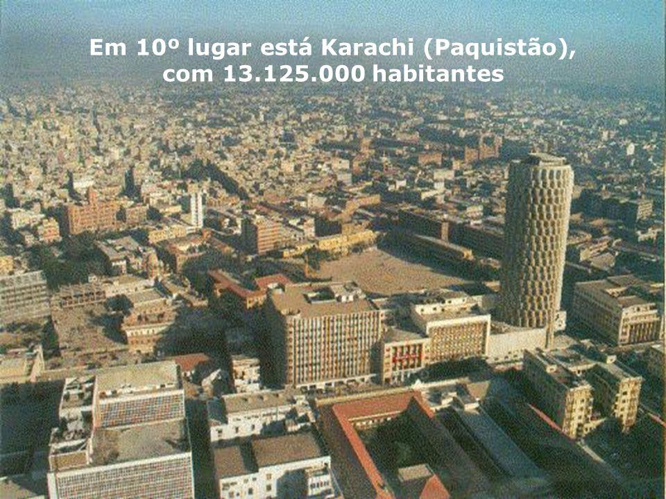 Em 10º lugar está Karachi (Paquistão),