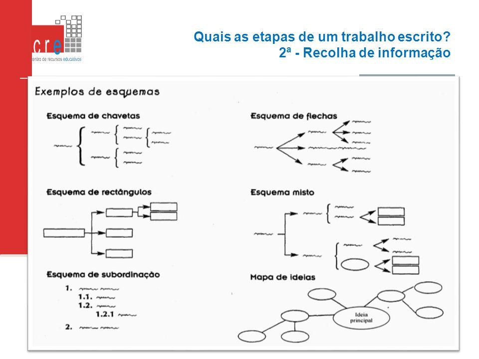 Quais as etapas de um trabalho escrito 2ª - Recolha de informação