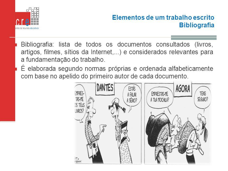 Elementos de um trabalho escrito Bibliografia