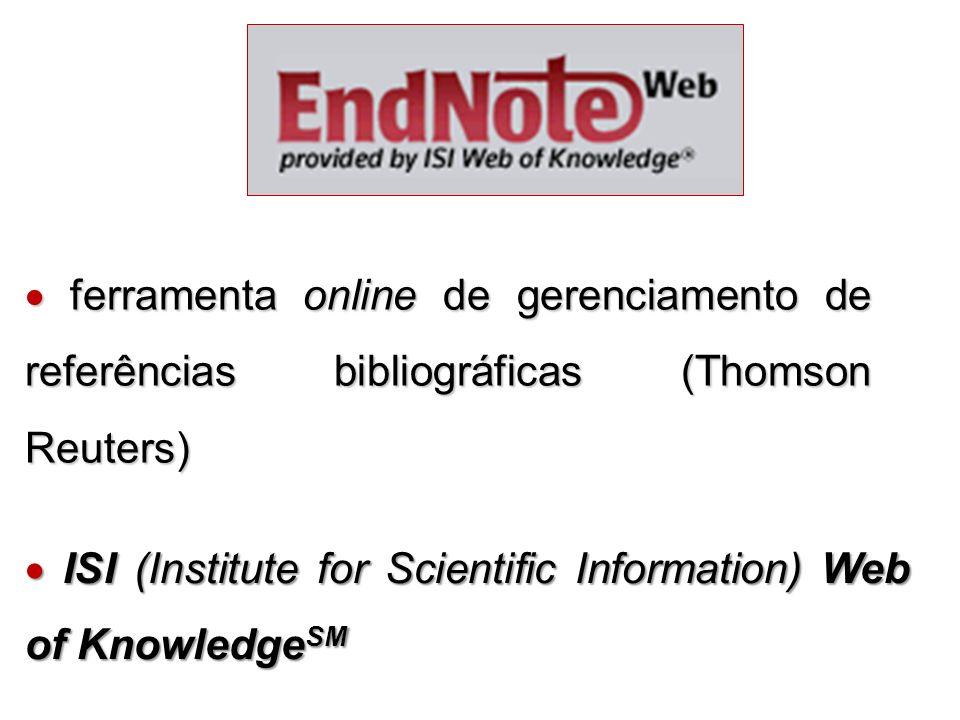  ferramenta online de gerenciamento de referências bibliográficas (Thomson Reuters)