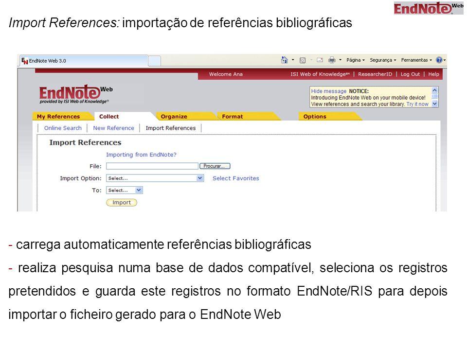 Import References: importação de referências bibliográficas