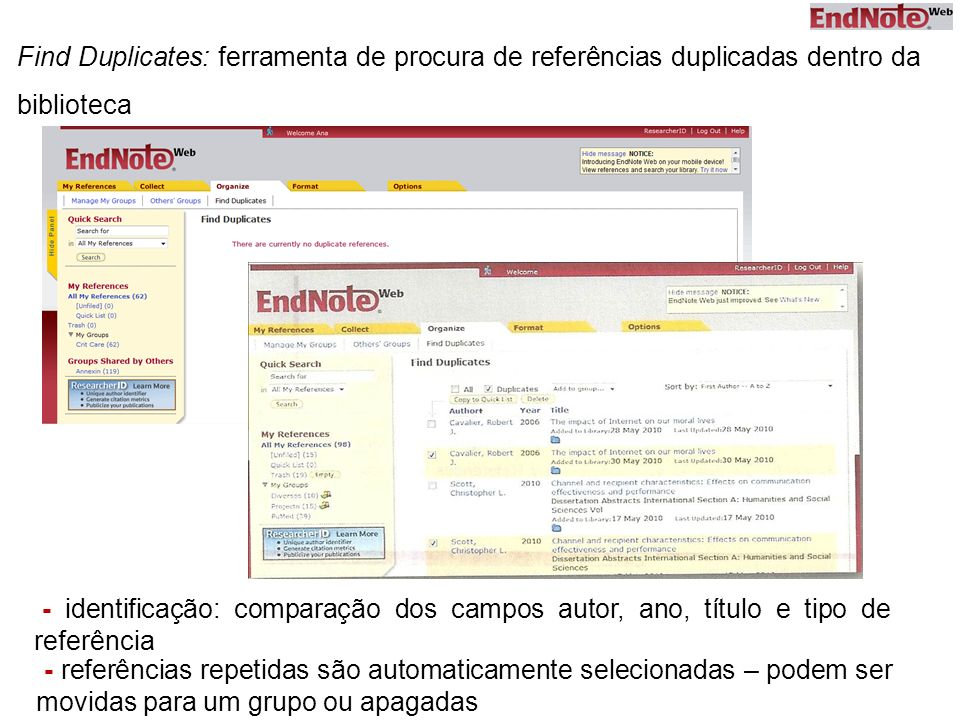 Find Duplicates: ferramenta de procura de referências duplicadas dentro da biblioteca