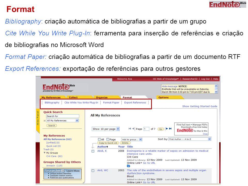 Format Bibliography: criação automática de bibliografias a partir de um grupo.