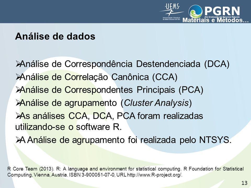 Análise de dados Análise de Correspondência Destendenciada (DCA)