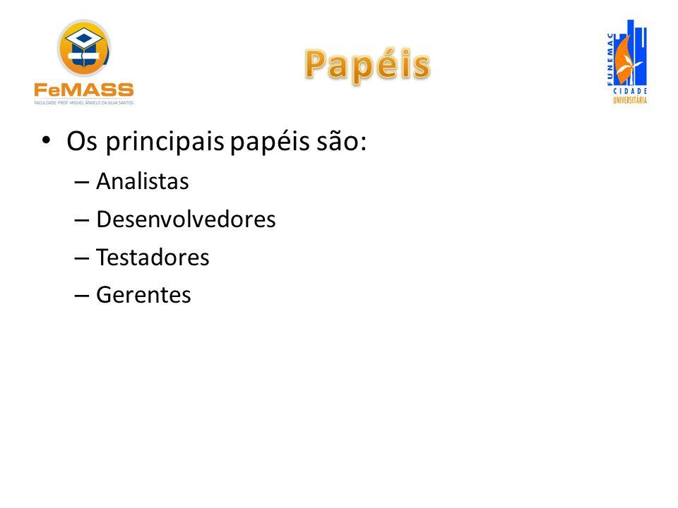 Papéis Os principais papéis são: Analistas Desenvolvedores Testadores