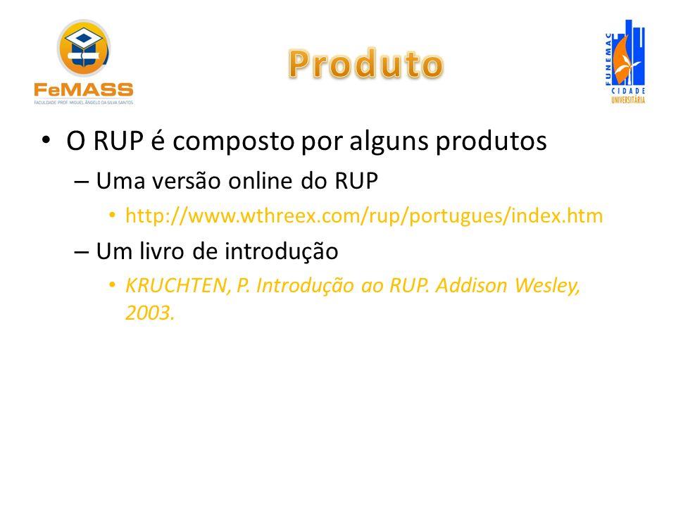 Produto O RUP é composto por alguns produtos Uma versão online do RUP