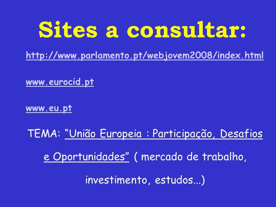 Sites a consultar: http://www.parlamento.pt/webjovem2008/index.html. www.eurocid.pt. www.eu.pt.