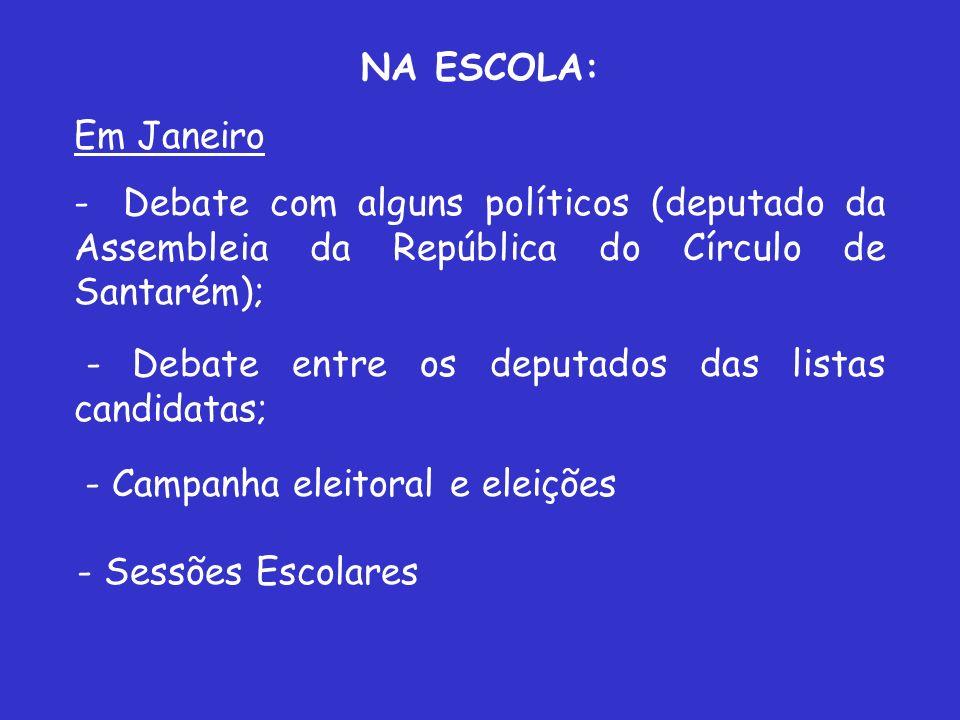 NA ESCOLA: Em Janeiro. Debate com alguns políticos (deputado da Assembleia da República do Círculo de Santarém);