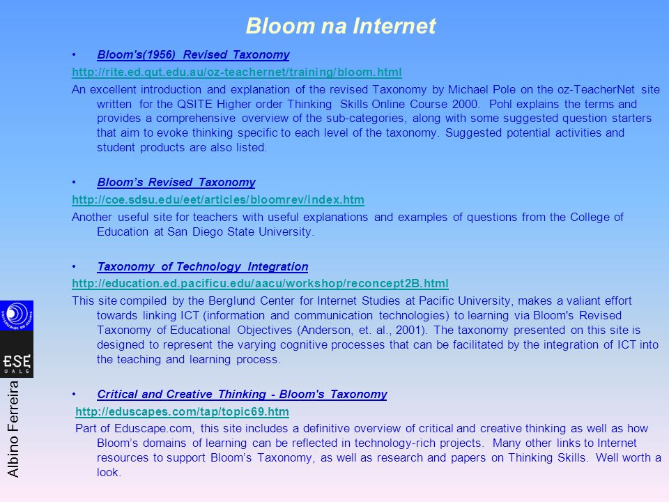 Bloom na Internet Bloom s(1956) Revised Taxonomy