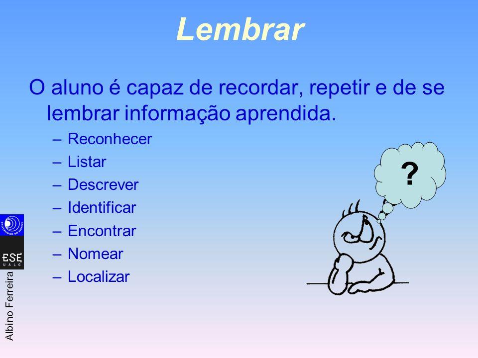 Lembrar O aluno é capaz de recordar, repetir e de se lembrar informação aprendida. Reconhecer. Listar.
