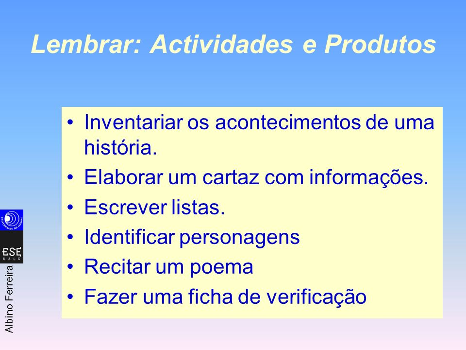 Lembrar: Actividades e Produtos
