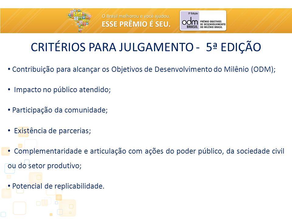 CRITÉRIOS PARA JULGAMENTO - 5ª EDIÇÃO