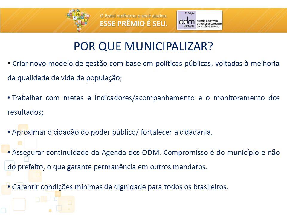 POR QUE MUNICIPALIZAR Criar novo modelo de gestão com base em políticas públicas, voltadas à melhoria da qualidade de vida da população;