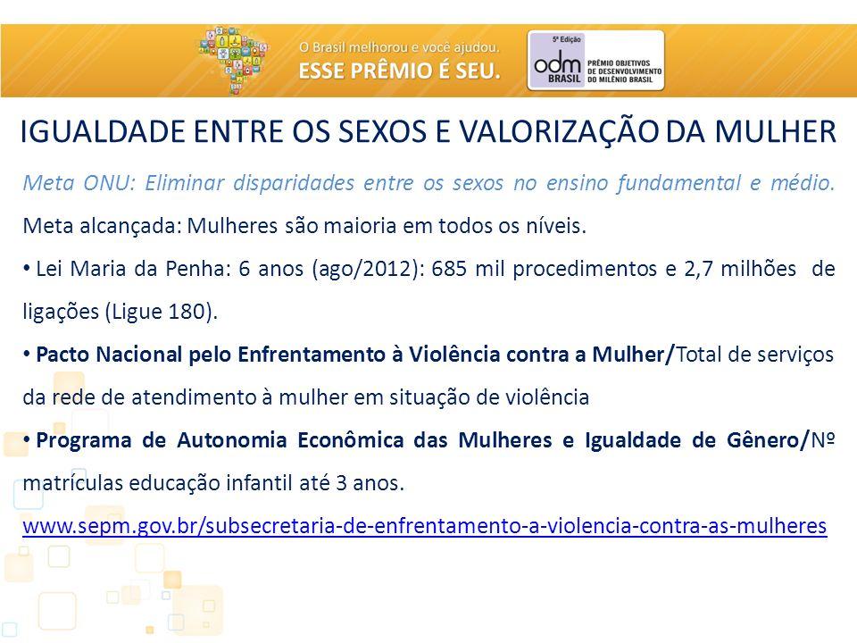 IGUALDADE ENTRE OS SEXOS E VALORIZAÇÃO DA MULHER