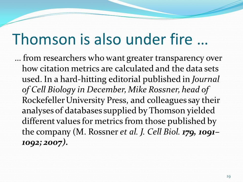 Thomson is also under fire …