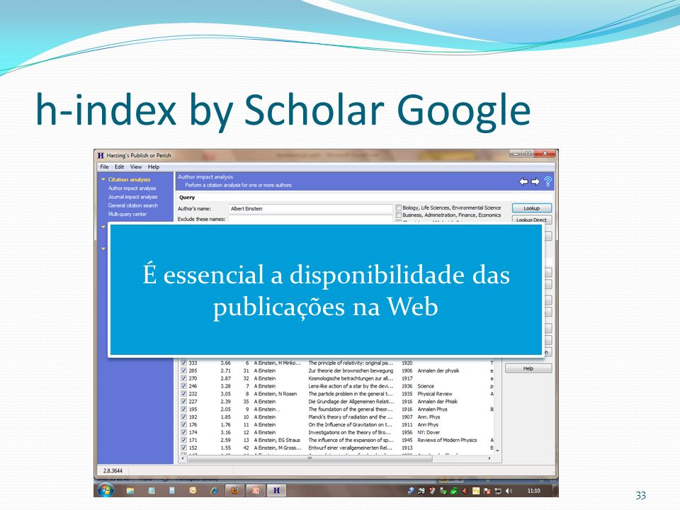 h-index by Scholar Google