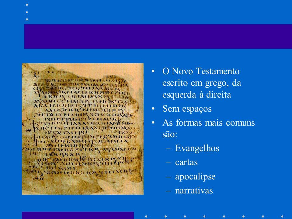 O Novo Testamento escrito em grego, da esquerda à direita