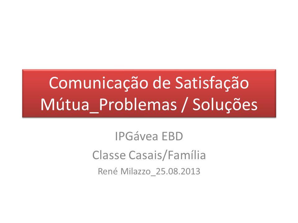 Comunicação de Satisfação Mútua_Problemas / Soluções