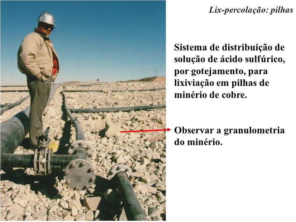 Observar a granulometria do minério.
