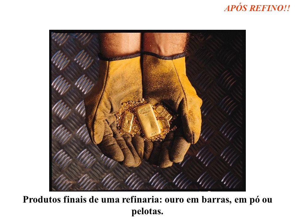 Produtos finais de uma refinaria: ouro em barras, em pó ou pelotas.