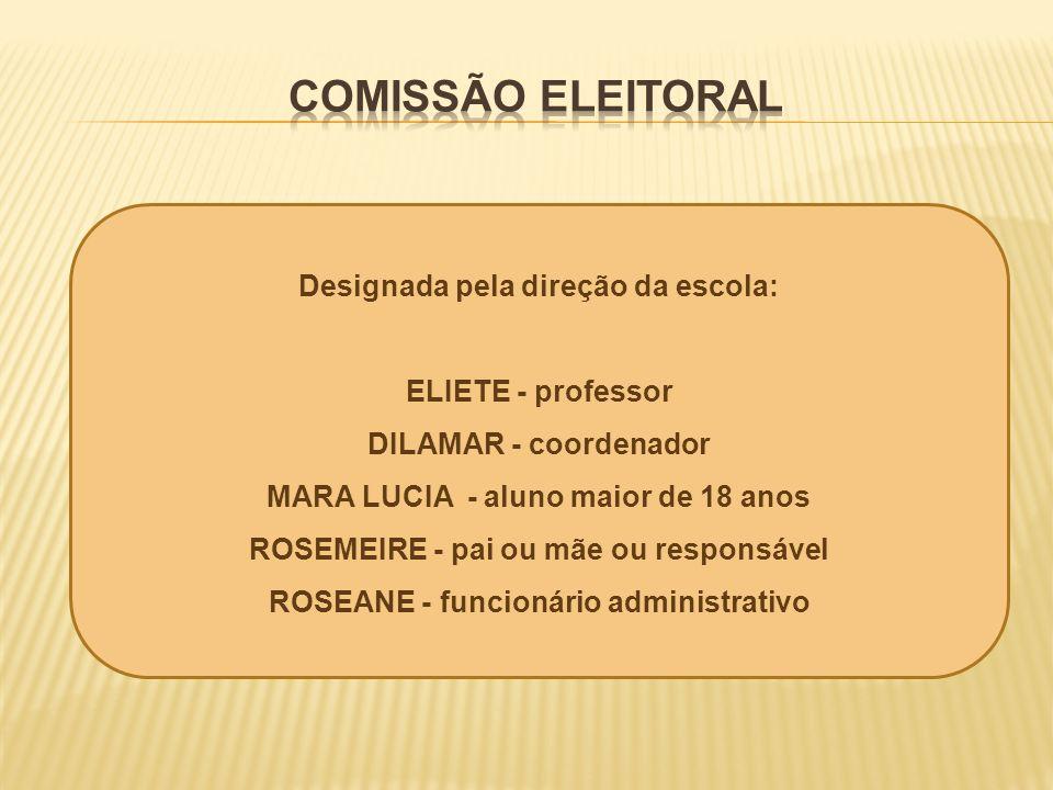 COMISSÃO ELEITORAL Designada pela direção da escola: