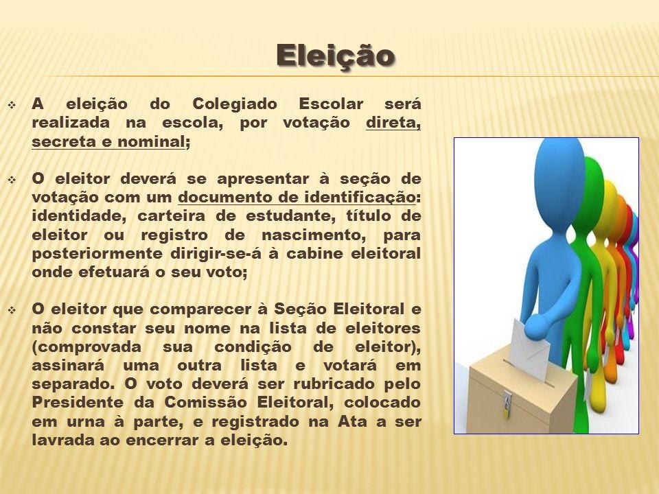 Eleição A eleição do Colegiado Escolar será realizada na escola, por votação direta, secreta e nominal;