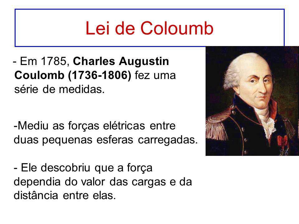 Lei de Coloumb - Em 1785, Charles Augustin Coulomb (1736-1806) fez uma série de medidas.