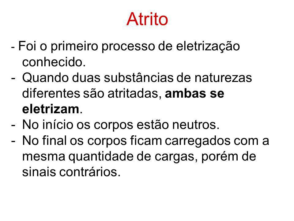 Atrito - Foi o primeiro processo de eletrização conhecido. Quando duas substâncias de naturezas diferentes são atritadas, ambas se eletrizam.