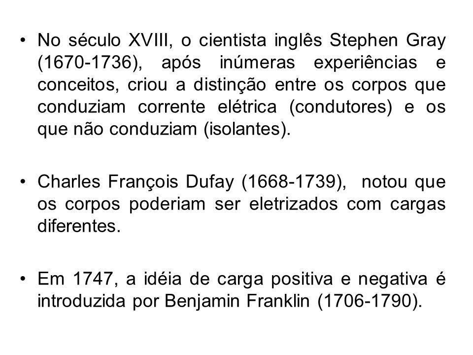 No século XVIII, o cientista inglês Stephen Gray (1670-1736), após inúmeras experiências e conceitos, criou a distinção entre os corpos que conduziam corrente elétrica (condutores) e os que não conduziam (isolantes).