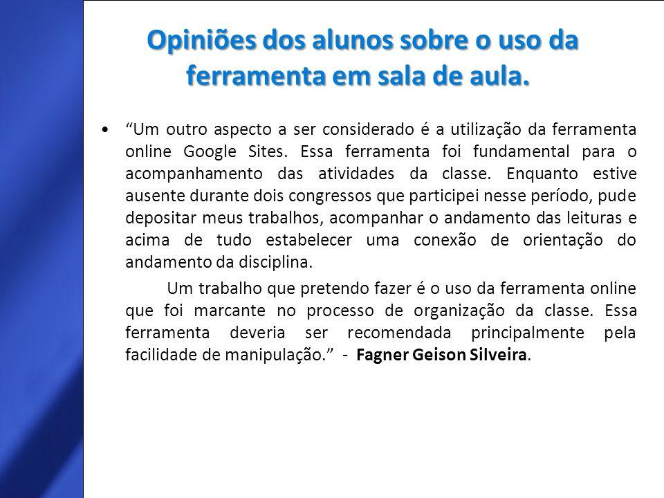 Opiniões dos alunos sobre o uso da ferramenta em sala de aula.