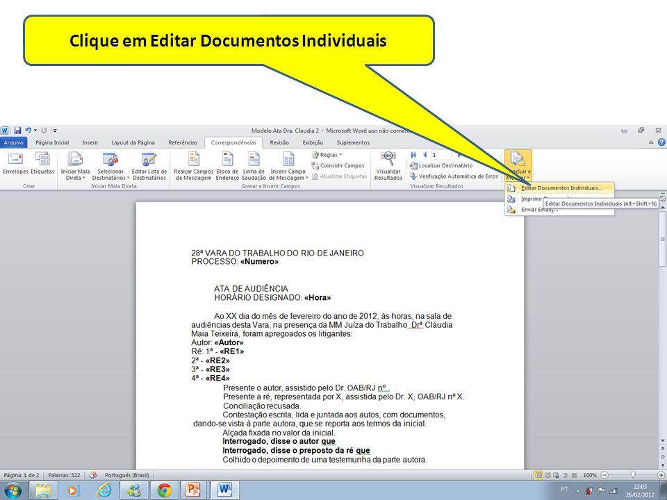 Clique em Editar Documentos Individuais